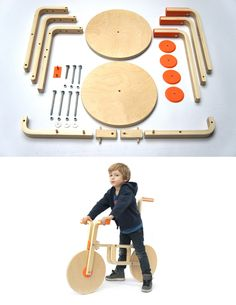 Love this Ikea hack! Parts for a stool were used to create a wooden bicycle!