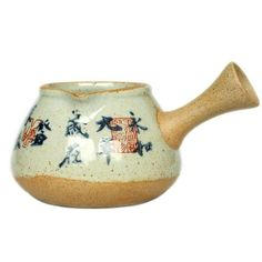 """Antique Coarse Pottery Porcelain """"GongDaoBei"""" (Pitcher) 160cc, 3 Paterns' Caligraphy Painting. Chinese Tea Set, Caligraphy, Tea Pots, Porcelain, Pottery, Ceramics, Antiques, Tableware, Painting"""