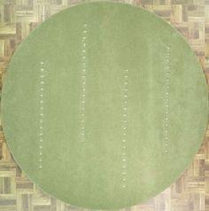 Handmade Circular Area Rug in Green With Geometric Patterns