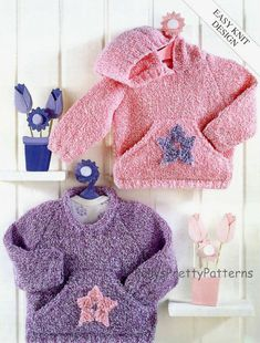 PDF Knitting Pattern for Easy Knit Sweaters/Cardigans to fit Chest sizes 16 to 26 Inches