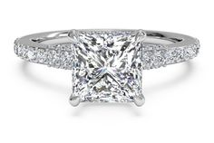 French-Set Diamond Band Engagement Ring - in 18kt White Gold (0.45 CTW)