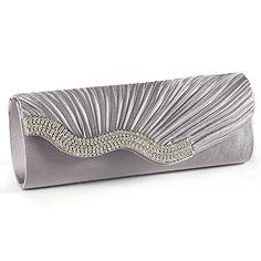 Anladia Satin Wavy Crystal Bag Evening Prom Bridal Wedding Purse Clutch Handbag (Silver Grey)