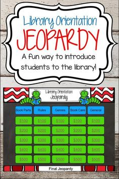 Orientation Jeopardy A fun and interactive way to introduce students to the library.A fun and interactive way to introduce students to the library. School Library Decor, Library Rules, School Library Lessons, School Library Displays, Library Lesson Plans, Middle School Libraries, Elementary School Library, Library Skills, Kindergarten Library Lessons