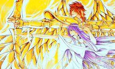Saint Seiya - The Lost Canvas - Sagittarius Sisyphe & Athena