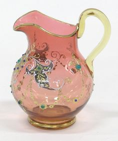 *MOSER ~ cranberry creamer w/ gold + platinum decorations + applied jewels, c. 1890