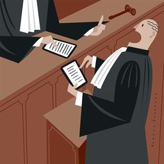 Conceptual editorial illustration: ipad use in court, judge, lawyer, sollicitor, barrister, courtroom, law Conceptual editorial illustration: ipad use in court, judge, lawyer, sollicitor, barrister, courtroom, law   BBooks are no longer needed, all trade literature is available on line.  ALL RIGHTS RESERVED © RONALD SLABBERS