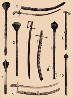 17th century Hungarian maces, axe and sabres.