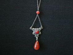 Art Nouveau Sterling Necklace with Carnelian