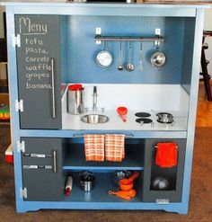 Transformed old entertainment center into Kids Kitchen Set! We love this idea, great use of an entertainment center. Repurposed Furniture, Kids Furniture, Antique Furniture, Reclaimed Furniture, Diy Kids Kitchen, Kitchen Ideas, Kitchen Decor, Mini Kitchen, Awesome Kitchen