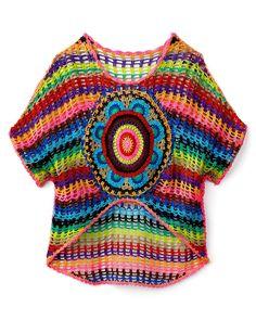 Flowers By Zoe Girls' Crochet High Low Top