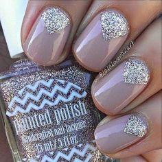 Dark Nude and Glitter Nail Design for Short Nails