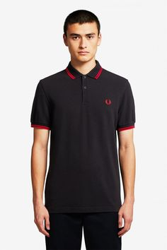 Mens Fred Perry Twin Tipped Poloshirt - Black Punk Shop, Fred Perry Polo Shirts, Twin Tips, Collar And Cuff, Color Negra, Polo Ralph Lauren, One Piece, Mens Tops, Cotton