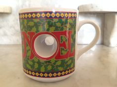 Vintage Papel Christmas Mug Ceramic Coffee Mug Noel Coffee mug, Hole through the O Mug, Coffee Drinker Gift, Christmas Gift, Home Decor by Samanthasunshineshop on Etsy