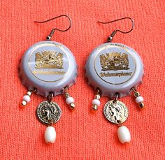 White Dangle Earrings  Upcycled Beer Bottle Caps by junksmith