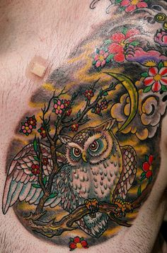 color owl tattoo on men chest www.Hoggifts.com