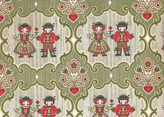 Vintage 1970s wallpaper, German, folk boy and girl, light green and red