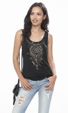 embroidered sequin embellished tank from EXPRESS