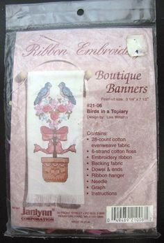 New Vtg Janlynn Ribbon Embroidery Boutique Banners Birds in a Topiary 21-06  USA #Janlynn #Banner #embroiderykit
