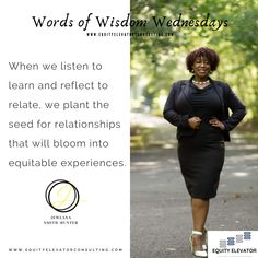 Listening to learn is a selfless act. Reflecting to relate is a relational act that leads to connections. How did listening and reflecting help you to connect with others in order to elevate equity? @JewlanaHunter #EquityElevator #EEWordsofWidsom #Equity #Education Home Equity, Elevator, Connect, Reflection, Inspirational Quotes, Wisdom, Motivation, Education, Learning