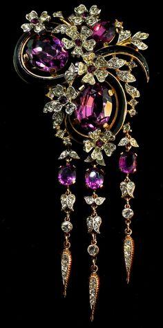 Vintage Trifari amethyst rhinestone flowerette and butterflies dangle brooch. I Love Jewelry, Fine Jewelry, Jewelry Design, Jewellery Box, Beach Jewelry, Jewelry Necklaces, Jewlery, Jewellery Shops, Silver Jewellery