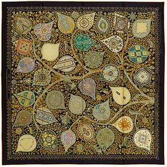 f057ef95fdcf New Authentic Hermes Silk Scarf L Arbre de Vie Christine Henry Black