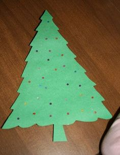"Lighted christmas tree craft. Tape to window to look ""lighted"""