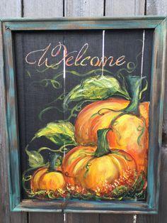 Pumpkin art screen  FALL Fall decor Welcome by RebecaFlottArts