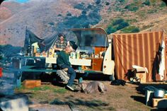 Color photo of vintage camping scene