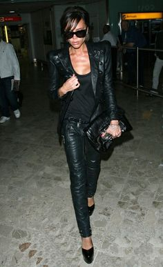Leather, leather, leather. Love you Posh Spice