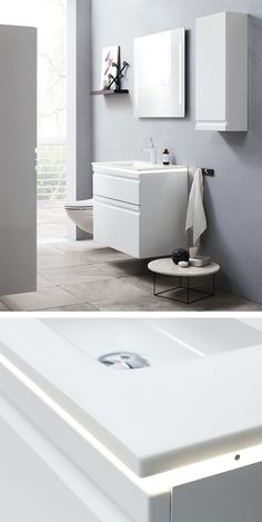 LED profile to place between washbasin and cabinet. Provides both mood illumination and practical light down into the drawer.