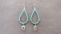 Boucles d'oreille turquoise coeur swarovski : Boucles d'oreille par triciaperles