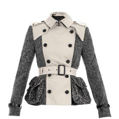Burberry Prorsum Gaberdine And Tweed Trench Jacket (£597) ❤ liked on Polyvore featuring outerwear, jackets, coats, burberry, coats & jackets, slim jacket, button jacket, pink jacket and trench jacket