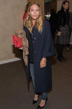 See Mary-Kate Olsen's Fall-Ready Navy Coat And Denim Look