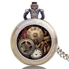 This Retro style steampunk pocket watch features Skeleton graphics on its lid. It has a classic dial in white color with Arabic numerals. A soothing and beautiful pattern on back of the watch makes it