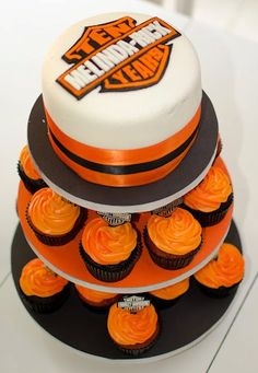 Harley Davidson Cake and Cupcakes