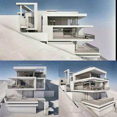 Modern House Plans, Modern House Design, Modern Architecture House, Architecture Design, Houses On Slopes, Townhouse Designs, Hillside House, Exterior Design, Luxury Homes