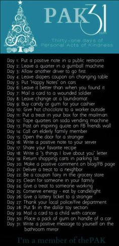 Brilliant ideas! Spread the joy! (Personal Acts of Kindness for the 31 days of December)