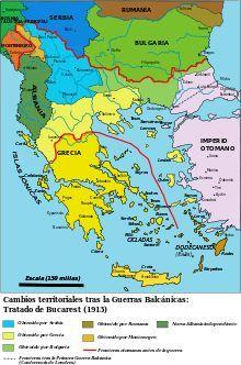 1912 a 1913 - Guerras de los Balcanes fueron dos guerras ocurridas en el sureste de Europa de 1912 a 1913. La primera enfrentó al Imperio otomano con la llamada Liga de los Balcanes formada por Bulgaria, Montenegro, Grecia y Serbia.