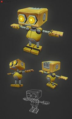 This is AL, a little low poly side scroller game character. Low Poly Robot AL Character Modeling, 3d Character, Character Concept, Modelos Low Poly, Modelos 3d, Maya Modeling, 3d Cinema, Low Poly Games, Robots Characters