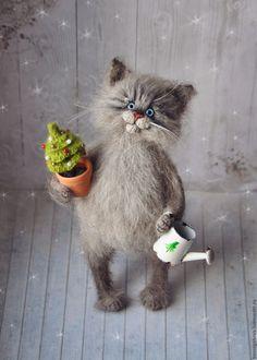 Knitted Cat Toy | Купить НОВОГОДНИЙ кот вязаный - кот, котик, Новый Год, игрушка кот, Игрушка кошка