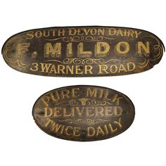 Antique English Hand-Painted Dairy Signs | From a unique collection of antique and modern signs at https://www.1stdibs.com/furniture/folk-art/signs/