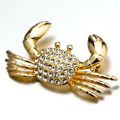 Brooches & Pins - cute april birthstone clear crystal golden crab animal brooches and pins Image.