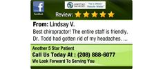 Best chiropractor!  The entire staff is friendly.  Dr. Todd had gotten rid of my...