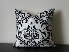 Decorative Throw Pillow Cover Black and White by JuliaSherryHome Black Pillow Covers, Black Throw Pillows, Toss Pillows, Throw Pillow Covers, Accent Pillows, Decorative Throw Pillows, Black And White Fabric, White Damask, Pillow Forms