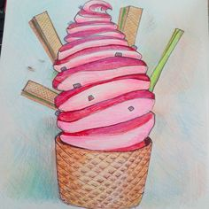 Słabość nr 3 #drawingart #lovecolor #lovecandy #icecream #pleasureart