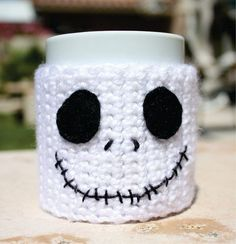 Halloween Inspired Nightmare Before Christmas Coffee Mug  - Disney 2014 Animation Crochet Knit Sleeve #2014 #Halloween