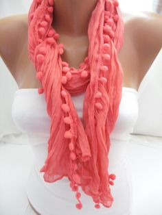 Hot Pink Pompom Shawl/Scarf  Headband Necklace by DIDUCI on Etsy, $13.50