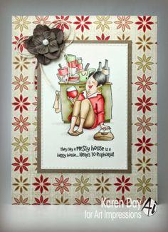 Messy House TF(Sku# 4452) Art Impressions Try Folds (trifolds) Handmade card.