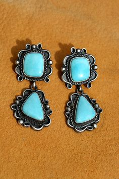 Antique Style Turquoise Earrings | Silver Eagle Gallery