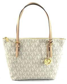 9c87cd3bb845ea Michael Kors Jet Set EW Tote And Wallet in PVC - Vanilla White for sale  online